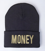Money Beanies hats gold logo 2014 New arrive Fashion mens womens hiphop winter knitted caps Free shipping