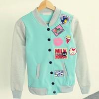 [Magic] patch designs women's cotton jacket v neck single button with fleece inside baseball jacket 2 color hot