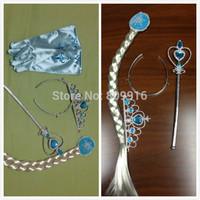 Children Girls Frozen Ornaments Christmas party Frozen Magic Wand + Rhinestone Crown  HairBand + Hairpiece Girls Wig accessories