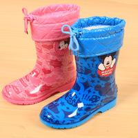 Best Selling ! Mickey Minnie Rain Boots Top PVC Children Boots Waterproof Autumn Winter Cartoon Girls Boys Shoes Rainshoes