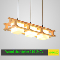 Creative simple Japanese-style Korean restaurant bedroom living room pendant lamp Wooden wood and glass chandeliers AC110-240V