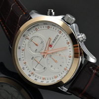 Promotional Brand Curren Male Leather Strap Quartz Watch 3 Dial Business Watch Men Dress Watches Gift 8138