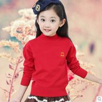 2014 new winter Girls bottoming sweater Children's low collar sweater