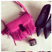 Europe and America autumn fashion women's shoulder bag  simple Classical joker tassels rose color messenger bag