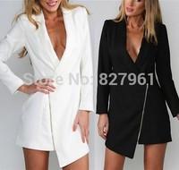 2014 New Arrival Women Zipper Leisure Suit Collar V-neck Dress Free Shipping #D063