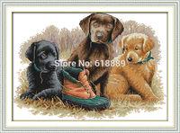 Three Dogs Pattern Counted Cross Stitch 11CT 14CT DMC Cross Stitch DIY Cross Stitch Kits for Embroidery Wall Decor Needlework