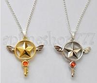 Hot Free Shipping Anime Card Captor Sakura Kinomoto Star Wand Key Necklace Pendant Cosplay Costumes Accessories