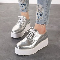 free shipping women's Korean spring and autumn high-heeled thick heel College Wind retro platform shoes muffin flats f-141