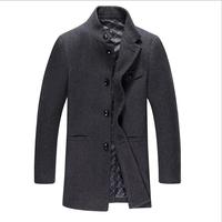 British Style Trench Coat Men Long single Breasted Men's Woolen Jackets Brand Designed Outdoors Wool Pea Coats Overcoat Black
