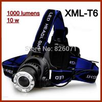 10pcs T6 upgrade XM - L2 LED strong baldheaded light adjustable zoom Charging long shots waterproof, fishing head lamp