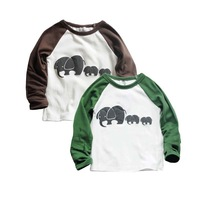 Boys cotton round neck t-shirt , long-sleeved T shirt cartoon elephant , baby long-sleeved t-shirt