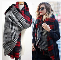 za 2014 double faced plaid soft winter scarf double layer moben houndstooth plaid cape gift
