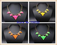 2014 new Europe Fashion Double Layered Metal Geometrical triangle Blue Epoxy Choker Punk Statement necklace for lady