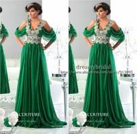 2014 Chiffon Long With Silver Applique Beadings Green Caftans Dubai Evening Formal Dress Dubai Fashion Kaftans Evening Dresses