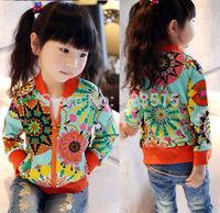 2014 Baby Girls Kids Long Sleeve Geometric Flower Print Zip Outwear Coat Clothes 2-7YFree Shipping dropshipping