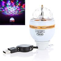 3 pcs/Lot  _ 3W LED Auto Rotating Bulb Lamp USB RGB Portable Crystal Stage Light