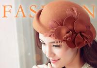 2014 winter hat flower elegant pure wool beret hat winter