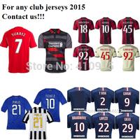 3A+ Thai soccer jersey 2015 Ronaldo James IBRAHIMOVIC MESSI MULLER KAKA Balotelli ROONEY football shirt 14 15 customize freeship