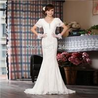 New White Mermaid V-neck Lace Up Wedding Dress 2014 blusa de renda e tule transparente