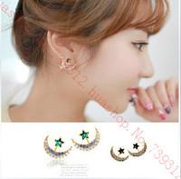 New Earrings  Sweet Drill Stars Moon Earrings Back Hanging