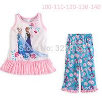 2014 2PCS Set Kids Girls Frozen Elsa T-Shirt Tops Pants Dress Homewear 2-7Y OutfitsFree Shipping dropshipping