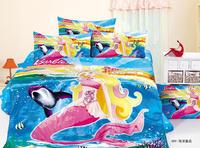 Princess Mermaid bedding for girls,3pc cartoon girls bedspreads,100% Cotton chirstmas bedding,princess Mermaid duvet cover twin