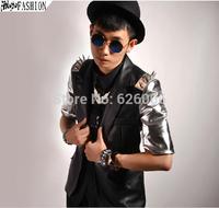 2014 New Original designed fashion men's rivet sleeve suit casual costume ds clothing suit coat Korean men's costumes