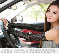 Summer anti-uv slip-resistant long design thin female lace summer sunscreen gloves