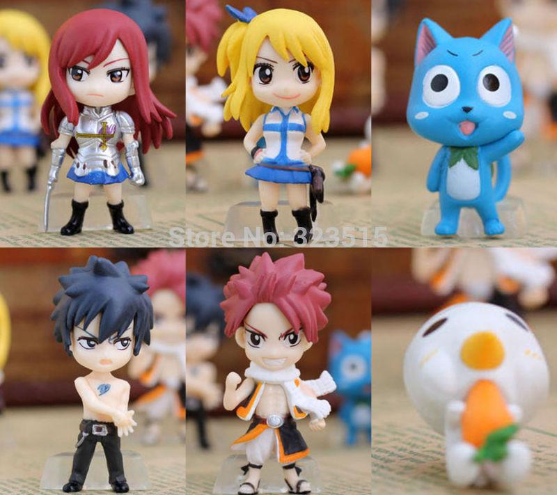 "2014 NEW SET OF 6PCS MINI FIGURES Fairy Tail ""Natsu /Happy /Lucy /Gray /Elza""Free Shipping dropshipping(China (Mainland))"