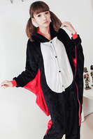 Cute black bat piece flannel pajamas couple male and female models tracksuit winter