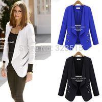2014 Chic Women No Button Zip Detail Slim Suit Jacket Blazer Suits CoatFree Shipping dropshipping