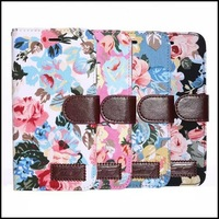 """Leather case for iphone 6 Plus ,Flower Rose Pattern Wallet Leather Case with stand For iPhone 6 Plus 5.5"""" 100pcs/lot"""