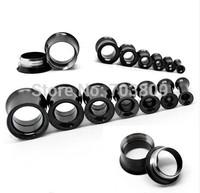 Black Stainless Steel Internally Threaded  Ear Gauge Plugs Flesh Tunnel Kit Piercing Expander Body Jewelry