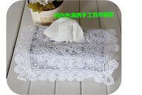 Elegant White  cotton battenburg embroidered  tissue boxed  lace cover Wedding Bridal