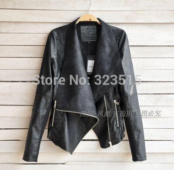 2014 Модный Vintage Женщиныs Slim Biker Motorcycle Кожа PU является высокотехнологичным ...