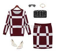 Women Long Sleeve Casual Slim Fit Stylish Dress Sweater Suit Knit dress Free Shipping
