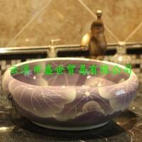 Jingdezhen ceramic art basin sink hand-painted basin subsidence stage basin purple lotus