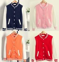 [Magic] Hot !!! Solid women's cotton jacket 6 colors mix color long sleeve v neck Active baseball jacket fleece winter outerwear