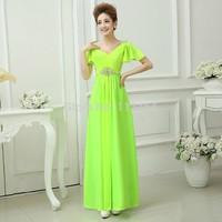 2014 New V-Neck Cap Sleeve Evening Dress Long Chiffon Prom Party Gowns Drop Maxi Brinco
