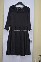 2014 Fall Winter Women High Fashion Europe and American Brand  O Neck Collar Long Sleeve Lace Trim Dress