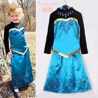 Retail 2014 New Hot Elsa Frozen Dress Girls Party Cartoon Printing Frozen Girl Long-Sleeved tshirt+Dress set Free shipping