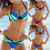 2014 New Arrival Hot Selling Womens Push Up Bikini Set Cut Out Bottoms Strap Halterneck Swimsuit Swimwear Bathingsuit T187