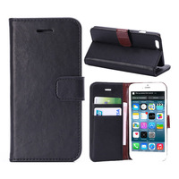 Crazy Horse Lines Flip Wallet PU Leather Case with Credit Card Slots Cover Pouch for iPhone 6 4.7 Inch + Pen + Film
