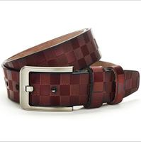 2014 new belt f Vintage Mens Reddish Brown Genuine Leather Single Prong Belt w/ Silver Tone Metal Buckle Business Casual Dress