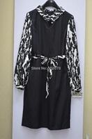 2014 Fall Winter Women High Fashion Europe and American Brand  Turn-Down Collar Long Sleeve Print Dress