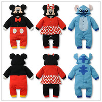 Free Shipping baby romper boy's girl's autumn cartoon Minnie Mickey full sleeve romper baby's wear Conjoined clothes