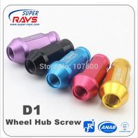 2014 New 20pcs Car DIY D1 Spec M12 x 1.5 / 1.25 Racing Lug Wheel Nuts Screw For Auto Supply Free shipping