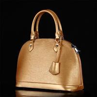 2014 fashion Shell small genuine leather handbags ripple shell Messenger bags ladies bags metallic color small totes ladies