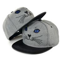 Retail 2014 New Hot Fashion Women & Men Korean Kitty Embroidery Woolen Baseball Caps,Boys Hip-Hop Hats,Free Shipping  cm104