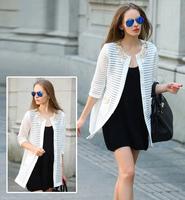 Autumn New Women's Jacket Fashion 3D Flowers Beading Hollow Out Stripe Long Jackets Women Slim Overcoat Women Jacket 3 color